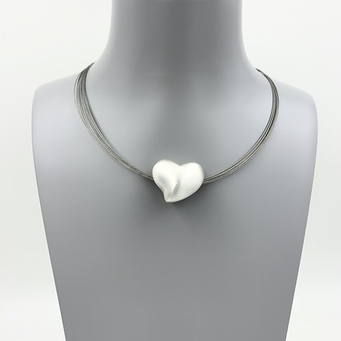 Silver Chunky Heart - Short Necklace