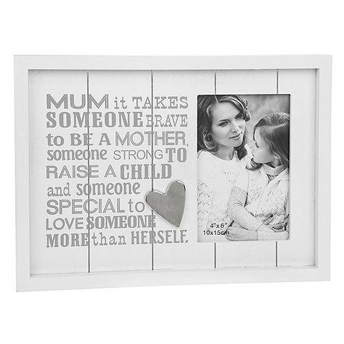 Mum Silver Heart White Wooden Photo Frame