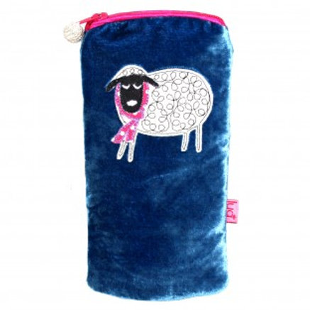 Lua - Winter Sheep Velvet Glasses Pouch - Blue