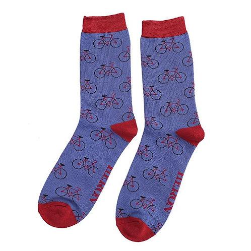 Mr Heron Men's Bamboo Socks - Bikes Blue