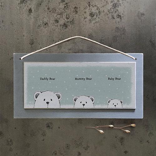East Of India - Daddy Bear, Mummy Bear, Baby Bear Plaque