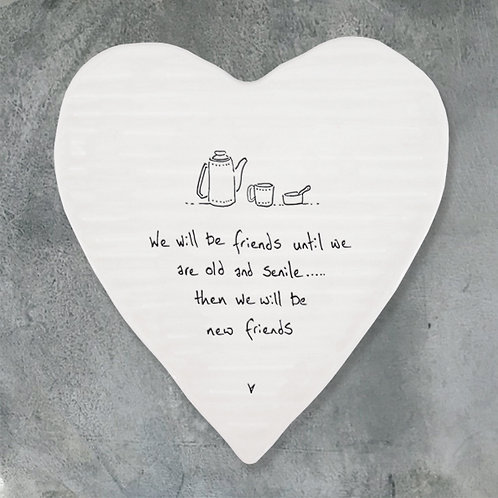 East Of India - 'We Will Be Friends' Heart Coaster