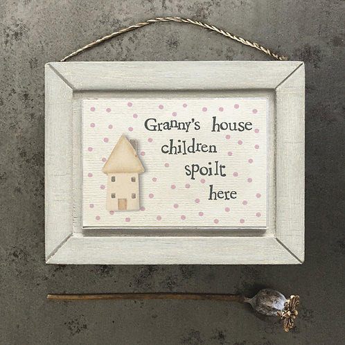 East Of India - Granny's House Plaque