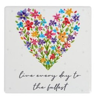 Live Every Day - Floral Ceramic Coaster