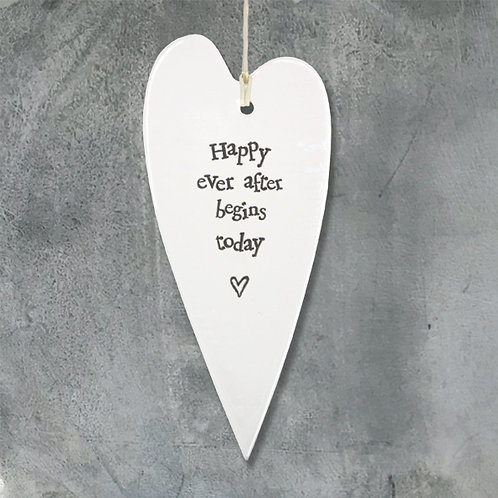 East Of India - Happy Ever After Porcelain Hanging Heart