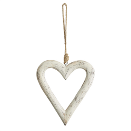 Antique White Carved Wood Open Hanging Heart