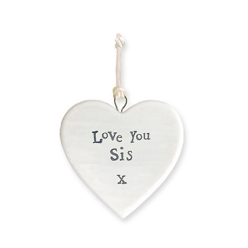 East Of India - 'Love You Sis' Porcelain Hanging Heart