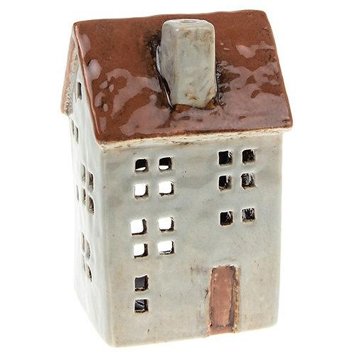 Village Pottery Pale Grey Town House Tea Light Holder