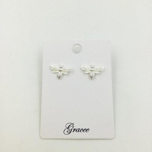 Silver Bee - Stud Earrings