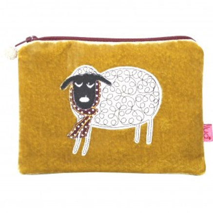 Lua - Winter Sheep Velvet Purse - Mustard