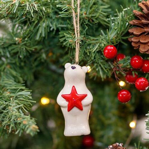 Ceramic Polar Bear With Red Star Decoration