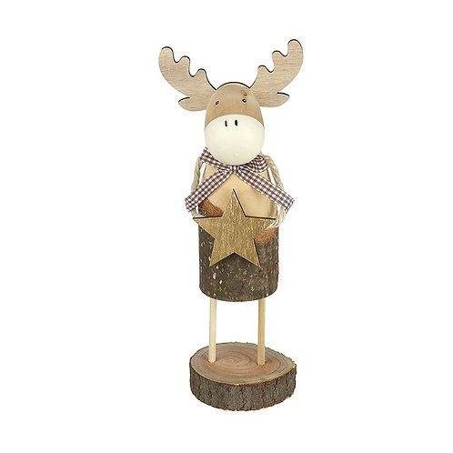 Large Standing Reindeer With Scarf