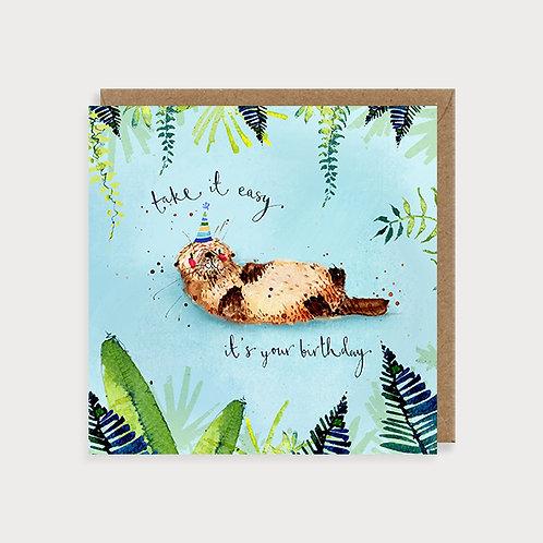 Open Birthday Card - Otter