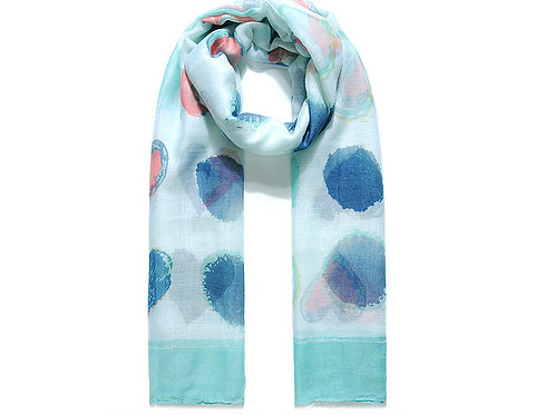Turquoise Abstract Spots & Hearts Print Scarf