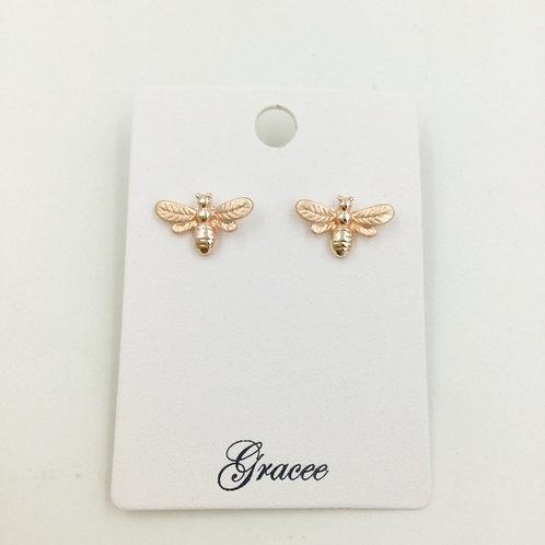 Rose Gold Bee - Stud Earrings