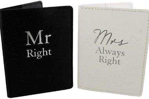 Mr Right & Mrs Always Right - Passport Holder Set