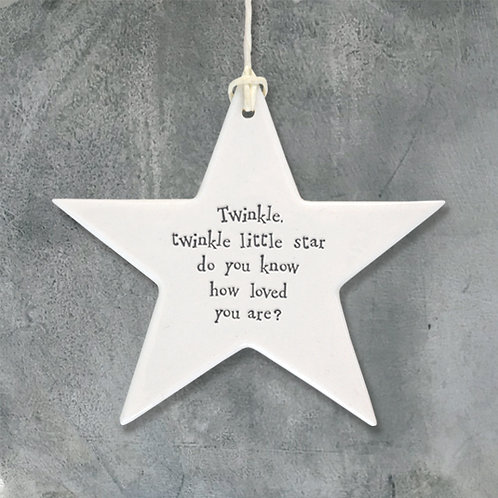 East Of India - 'Twinkle Twinkle' Porcelain Hanging Star