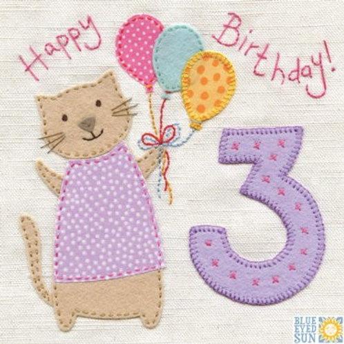 3rd Birthday Card - Girl