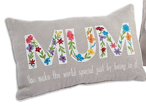 Floral Embroidered Mum Cushion