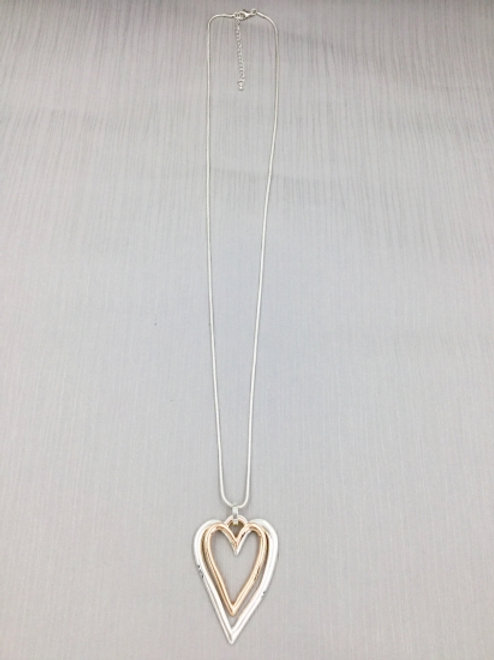 Silver & Rose Gold Double Heart - Long Necklace