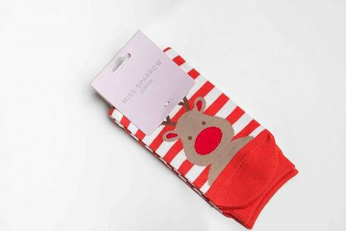 Miss Sparrow Ladies Bamboo Socks - Rudolph Red