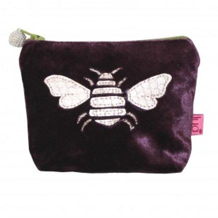 Lua - Gold Bee Velvet Purse (Small) - Fig