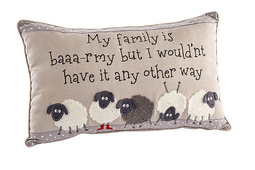 'My Family is Baaa-rmy' Sheep Cushion