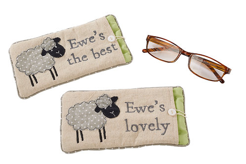 Embroidered Sheep Glasses Case
