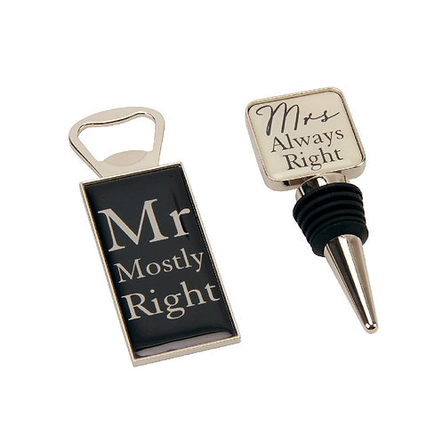 Mr & Mrs Bottle Opener and Stopper Set