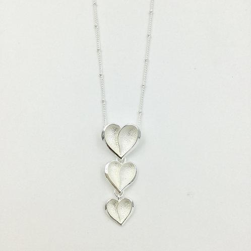 Triple Hearts - Silver Short Necklace