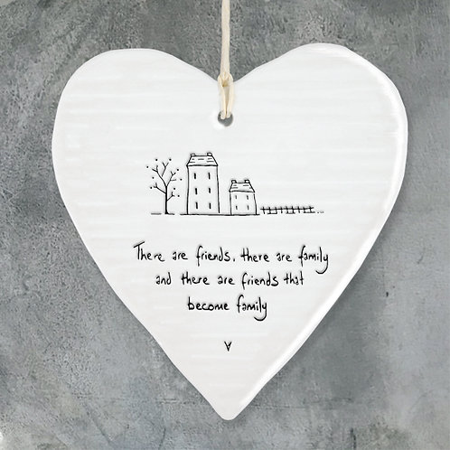 East Of India - 'Friends & Family' Hanging Heart