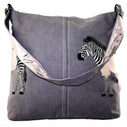 Lua - Zebra Applique Shoulder Bag -Mocha