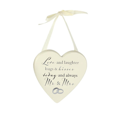 Love & Laughter - Cream Wooden Wedding Heart
