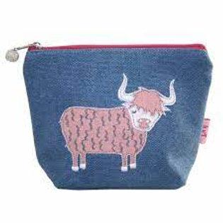 Lua - Highland Cow  Cosmetic Bag - Petrol Blue