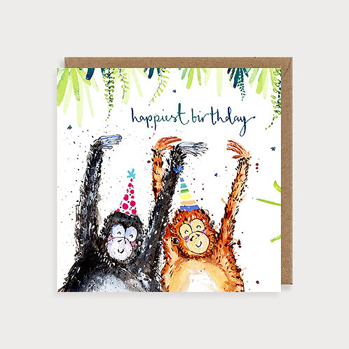 Open Birthday Card - Happiest Birthday Monkeys