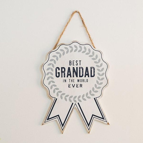 Best Grandad - Wooden Rosette Plaque