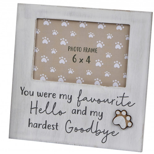 You Were My Favourite Hello - Dog Paw Print Frame