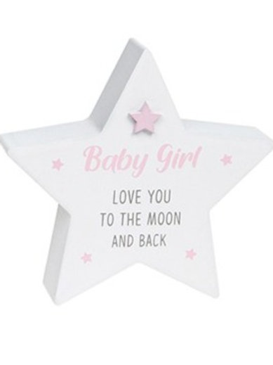 Love You To The Moon - Baby Girl Star Block