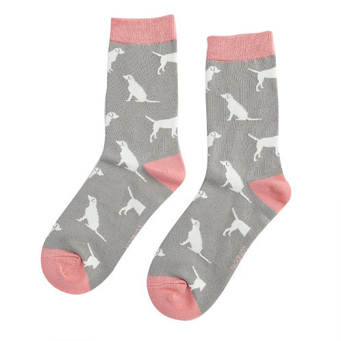 Miss Sparrow Ladies Bamboo Socks - Grey Labrador