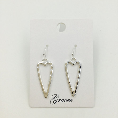 Silver Hammered Long Heart - Earrings