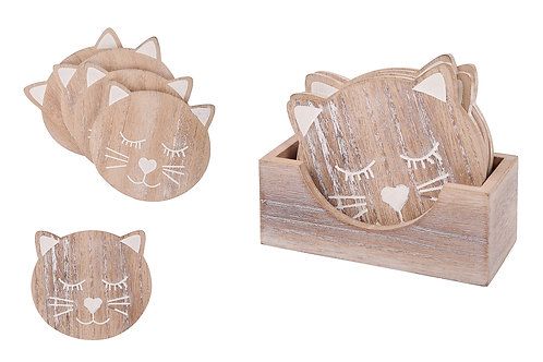 Wooden Cat Coasters - Set of 6