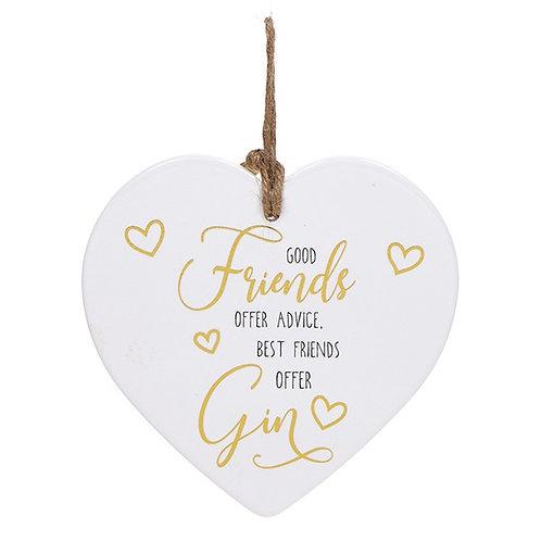 Golden Sentiment Ceramic Heart - Friends