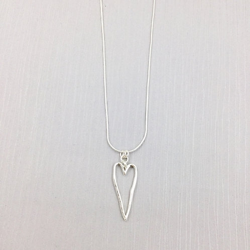 Matt Silver Heart - Long Necklace