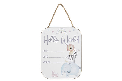 Hello World - Baby Plaque