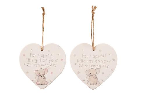 Elephant Christening Day Heart - Little Boy