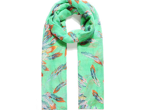 Green Scattered Feather Print Scarf