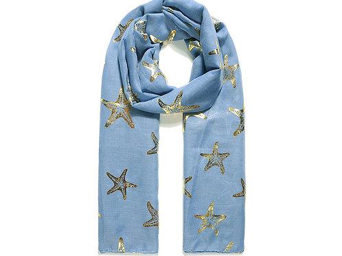 Blue Gold Foil Starfish Print Scarf