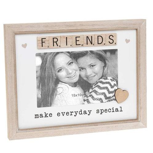 "Friends Wooden Scrabble Sentiment 6""x4"" Photo Frame"