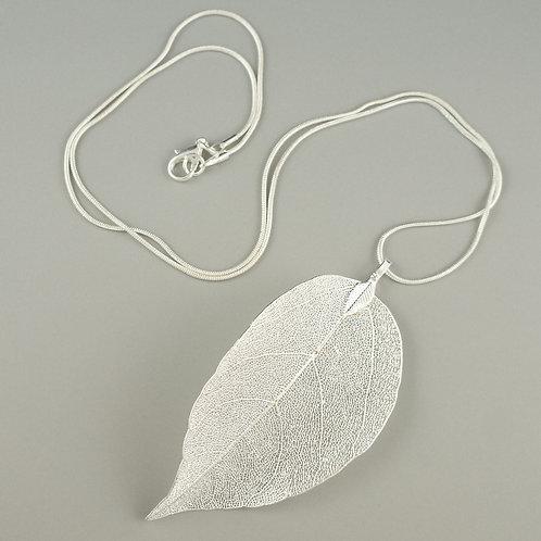 Leaf - Long Silver Necklace