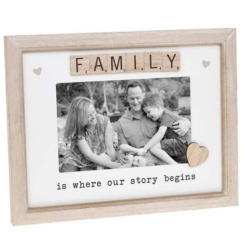 "Family - Wooden Scrabble Sentiment 6"" x 4"" Photo Frame"